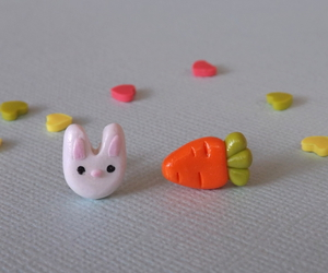 carrot, polymer clay, and white rabbit image