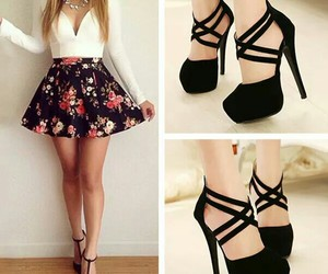 outfit, shoes, and skirt image