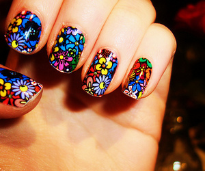 nails, flowers, and colorful image