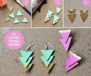 diy, earrings, and gold image
