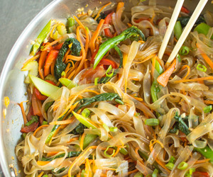 asian, noodles, and vegetables image