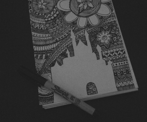 black, castle, and doodle image