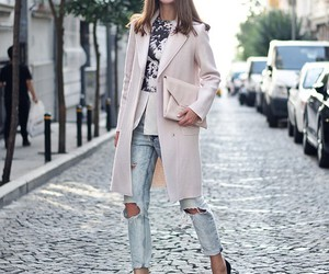 coat, rose, and high heels image