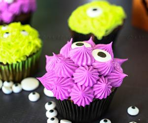 cupcake, Halloween, and monster image