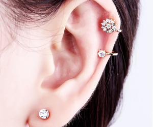 ear cuffs, silver ear cuff, and crystal flower ear cuff image
