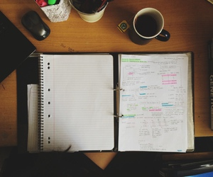 notebook, study, and tea image