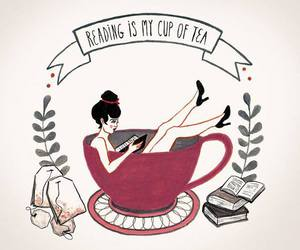 book, tea, and cup image