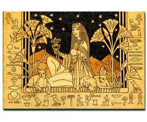 home decor, pyrography, and egyptian goddess image