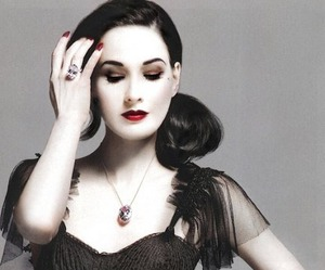 Dita von Teese and red lips image