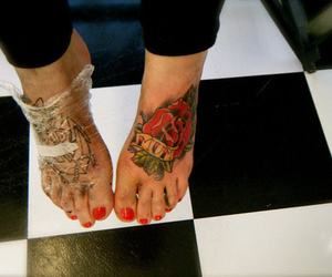 checks, floor, and foot tattoo image