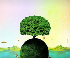 oak ufo head, surrealism art nature, and swinging balloon world image
