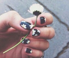 nails, flowers, and black image