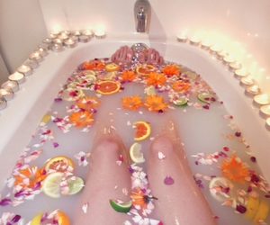 bath, flowers, and fruit image