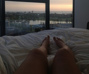 bed, legs, and sky image