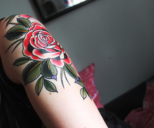 me, old school tattoo, and rose tattoo image