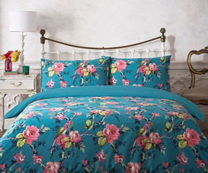 bed, bedding, and dream room image