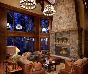 cabin, inspiration, and living room image