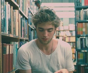 robert pattinson, book, and boy image