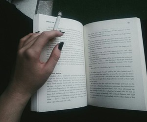 alone, black, and book image