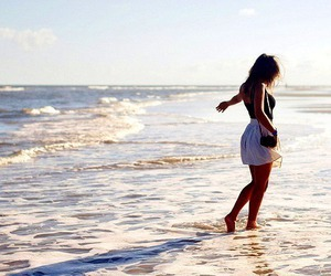alone, beach, and sand image