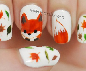 nails, nail art, and fox image