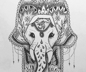 elephant, drawing, and hamsa image