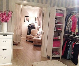 room, pink, and closet image