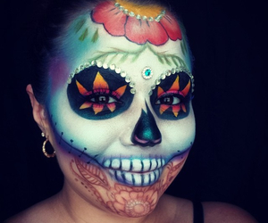 beauty, sugar skull, and face paint image