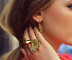 details, earrings, and gold image