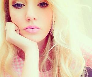 blonde, makeup, and pink image