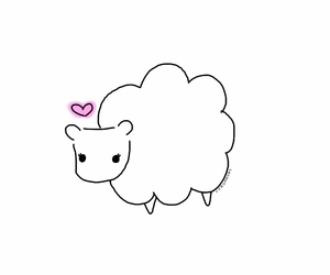doodle, heart, and sheep image