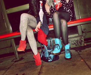 girl, shoes, and friends image