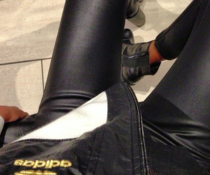 adidas, black, and leather pants image
