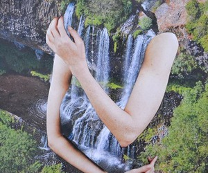arms, nature, and waterfall image