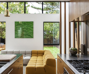 exterior design, large glass windows, and box house image