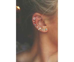 girl, earrings, and piercing image