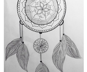 drawing, dream catcher, and mandala image