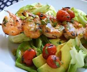food, shrimp, and salad image