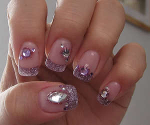 acrylic, nails, and gems image