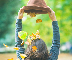 girl, autumn, and hat image
