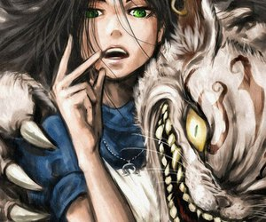 alice, anime, and Cheshire cat image