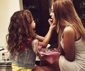 girl, mom, and hair image