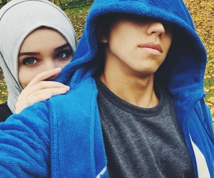 couple, hijab, and muslima image