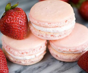 food, strawberry, and macarons image