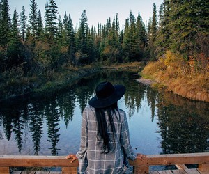 forest, girl, and lake image