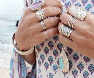 blonde, jewerly, and blue image
