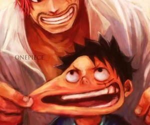 luffy, one piece, and shanks image