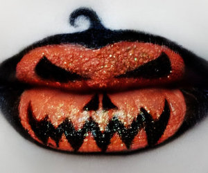 Halloween, lips, and pumpkin image
