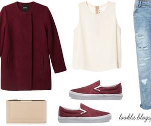 blouse, boyfriend jeans, and coat image