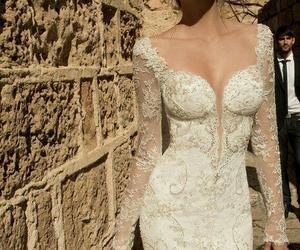 lace, white, and weddingdress image